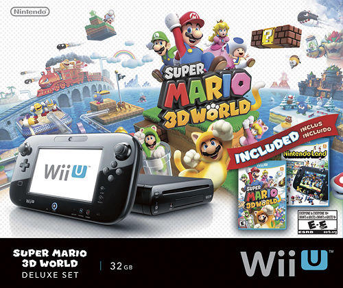 $249.99 Nintendo Wii U 32GB Console Super Mario 3D World and Nintendo Land Bundle Black