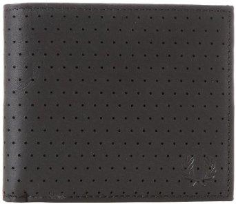 Fred Perry Men's Perforated Billfold Wallet, Black