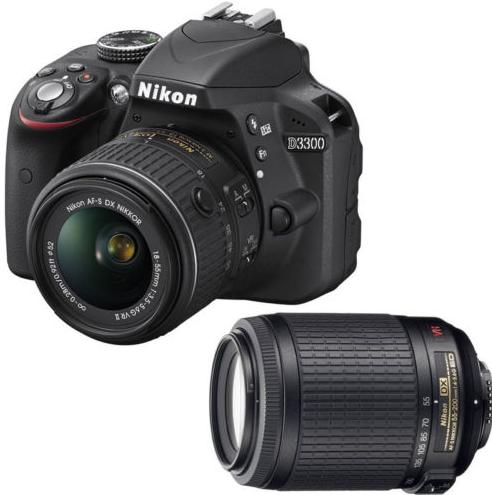 (Factory Refurbished) Nikon D3300 with 18-55mm VRII+ 55-200 VR Lenses