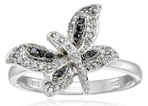 Sterling Silver Dragonfly Black and White Diamond Ring