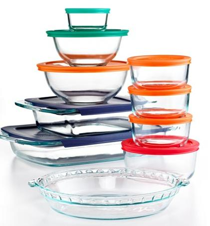Pyrex 19 Piece Bake, Store and Prep Set with Colored Lids @ Macy's