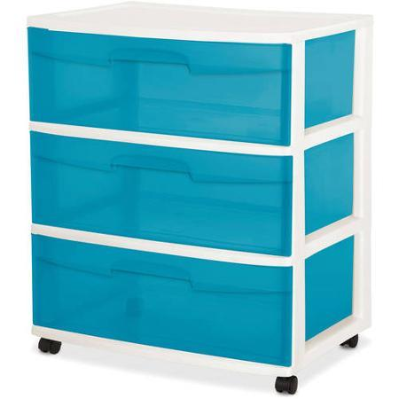 Sterilite 3 Drawer Wide Cart- Aqua Blue Tint