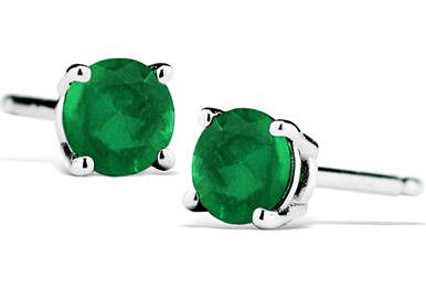 $181/2 Carat Natural 4MM Emerald Stud Earrings in .925 Sterling Silver