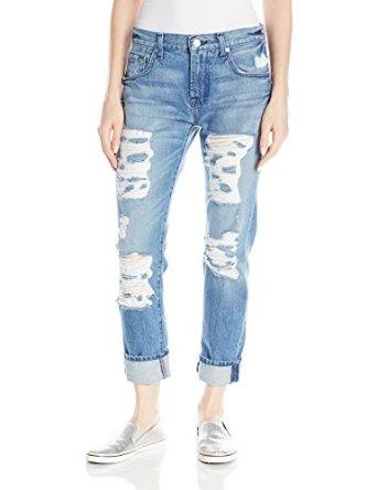 7 For All Mankind Women's Relaxed Skinny with Shredding Jean
