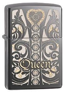 Zippo Pocket Lighter Black Ice Queen Design Pocket Lighter