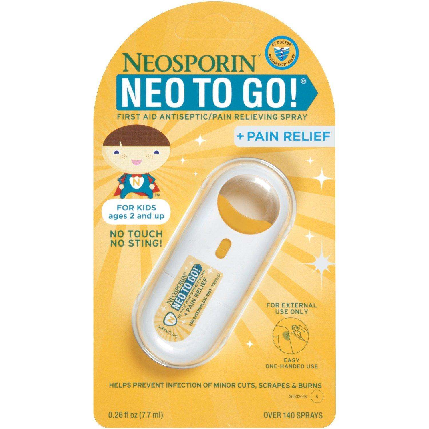$11.38 Neosporin Neo to Go! First Aid Antiseptic Spray, 0.26 Fluid Ounce (Pack of 2)