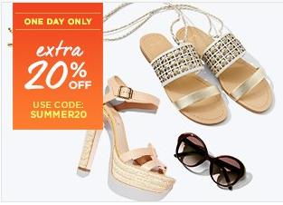 Extra 20% Off SUMMER SHOES & ACCESSORIES Sale