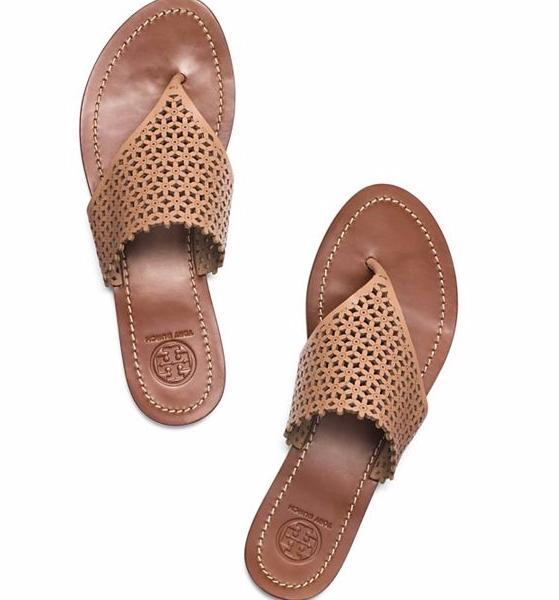 FLORAL PERFORATED FLAT THONG SANDAL @ Tory Burch
