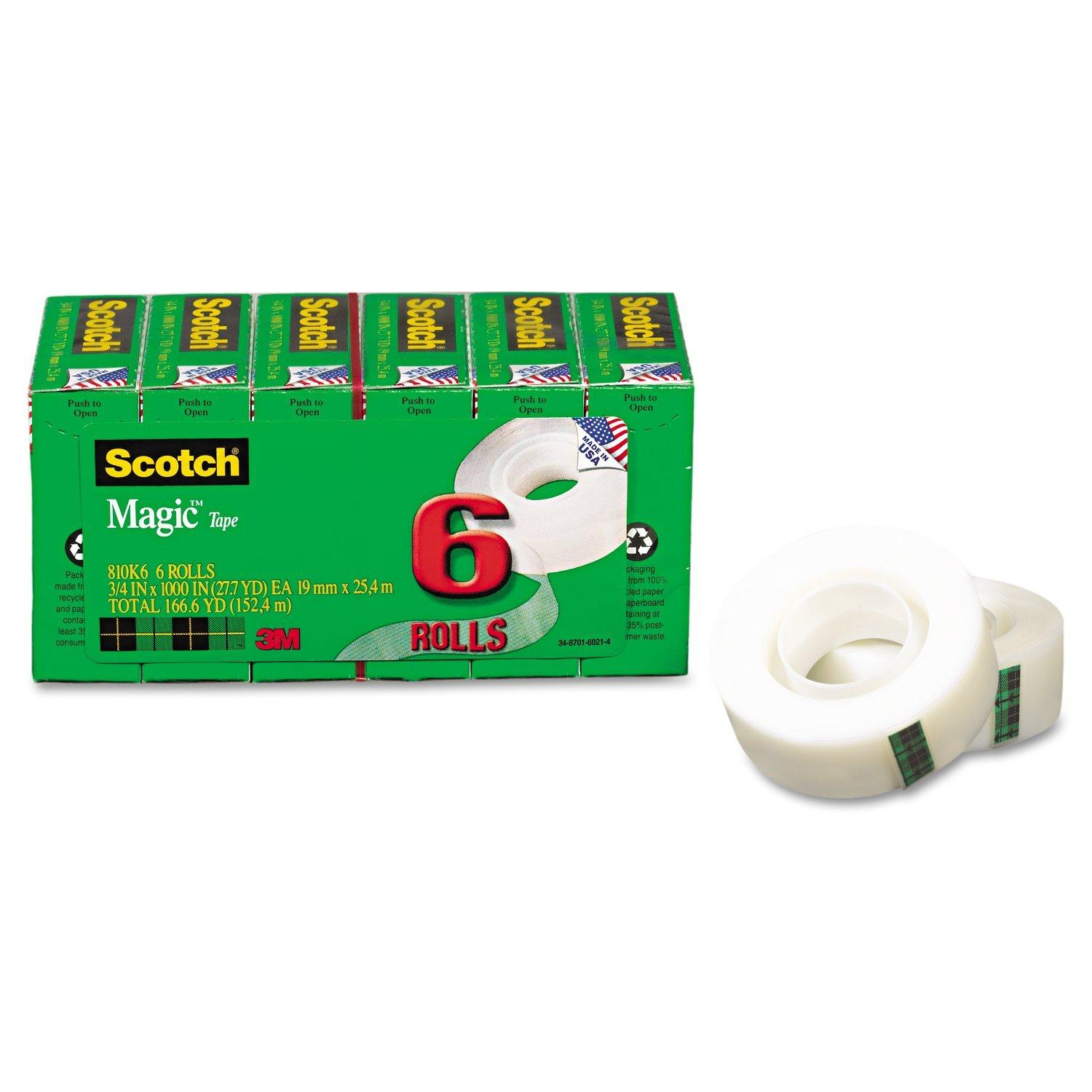 Scotch Magic Tape, 3/4 x 1000 Inches, 6-Count Package (810K6)