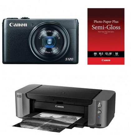 Canon PowerShot S120 12.1 MP Digital Camera with PIXMA PRO-10 Inkjet Photo Printer & 13x19 Pack of Photo Paper