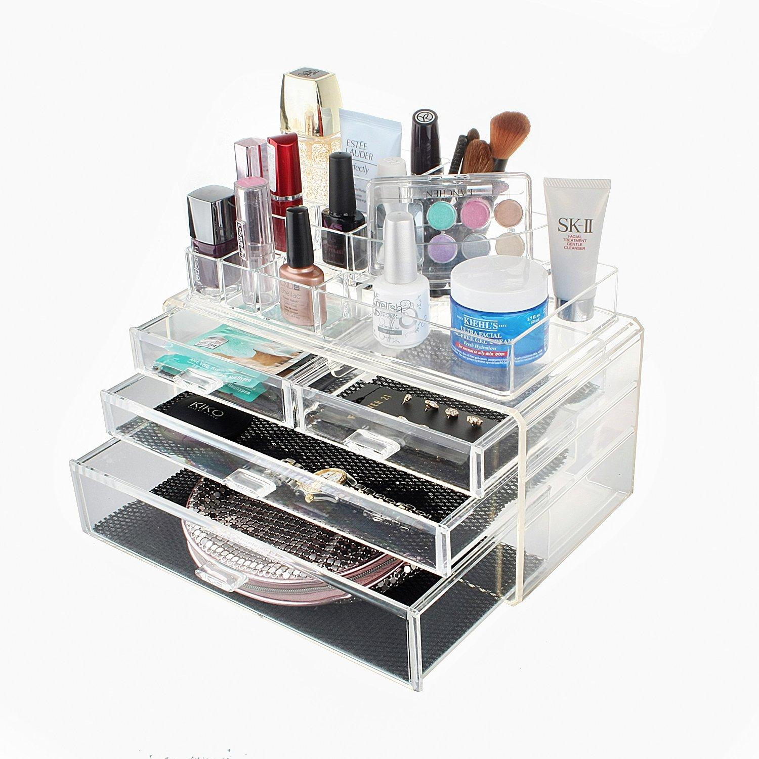 MelodySusie® Large Capacity Cosmetic Organizer Transparent Acrylic Jewelries & Cosmetic Storage Display Boxes