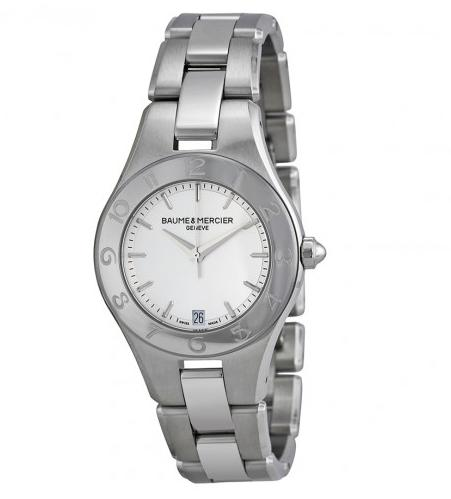 $549 Baume and Mercier Linea Silver Dial Stainless Steel Ladies Watch