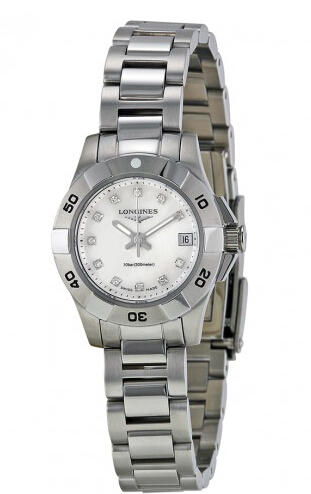 Longines Hydro Conquest Mother of Pearl Diamond Dial Ladies Watch L3.198.4.87.6