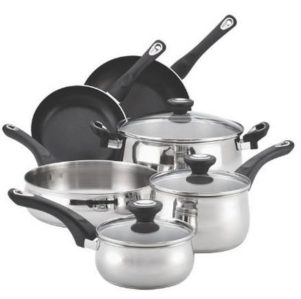$69.99 Farberware New Traditions Stainless Steel 12-Piece Cookware Set