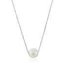 """Sterling Silver Round Freshwater Cultured Pearl Chain Necklace, 18"""""""