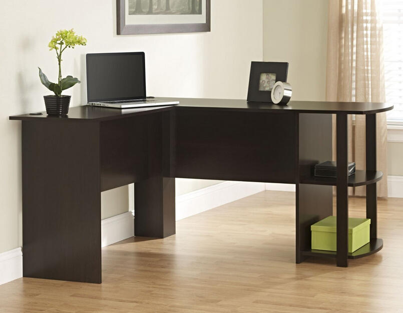 Ameriwood Office L-Shaped Desk with 2 Shelves