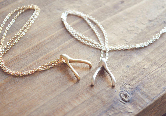 $17.04 Sterling Silver Wishbone Pendant Necklace, 18""