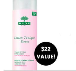 Free Full Size Nuxe Rose Petal Gentle Toner with any order of $60 @ B-Glowing