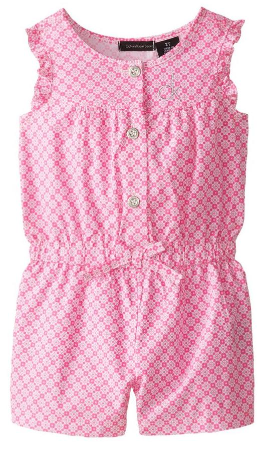 From $9.51 Calvin Klein Little Girls' Pink Printed Romper Sale @ Amazon.com