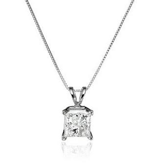 10k White Gold Princess-Cut Diamond Pendant Necklace