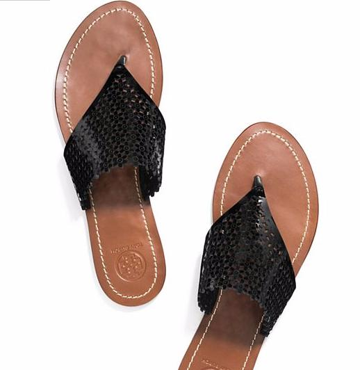 FLORAL PATENT PERFORATED FLAT THONG SANDAL @ Tory Burch