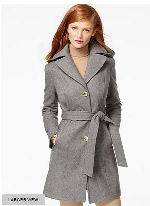MICHAEL Michael Kors Hooded Belted Walker Coat @ macys.com