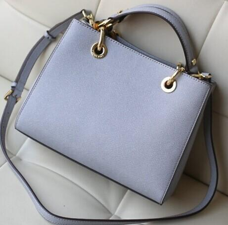 Cynthia Medium Leather Satchel Pale Blue @ Michael Kors