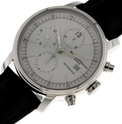 Baume and Mercier Classima Automatic Chronograph White Dial Black Leather Men's Watch 08591
