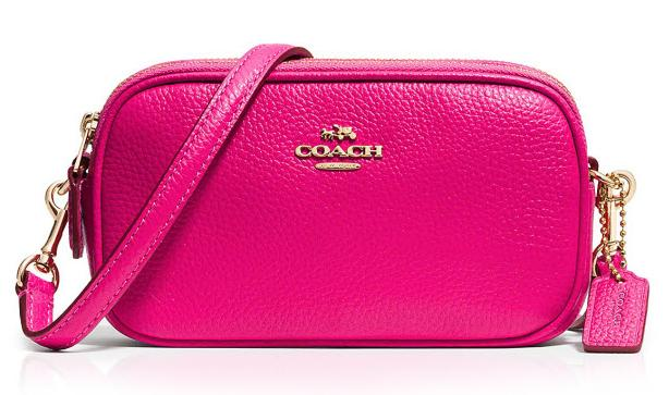 COACH Pebbled Leather Crossbody Pouch-Yellow,Pink,Green @ Bon-Ton