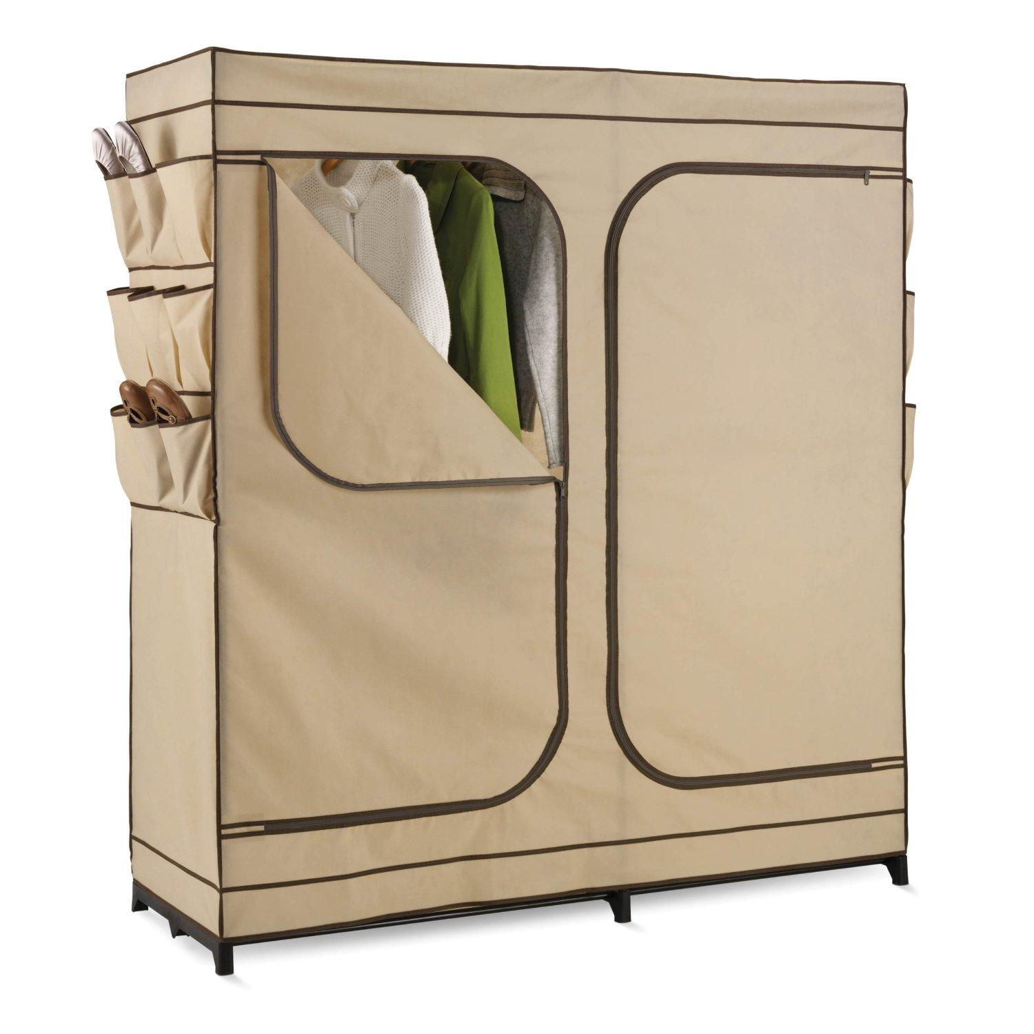 Honey-Can-Do WRD-01272 Double Door Storage Closet with Shoe Organizer, 60-Inch