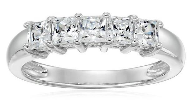 Platinum Plated Sterling Silver Zirconia 1 cttw Princess Cut 5 Stone Ring