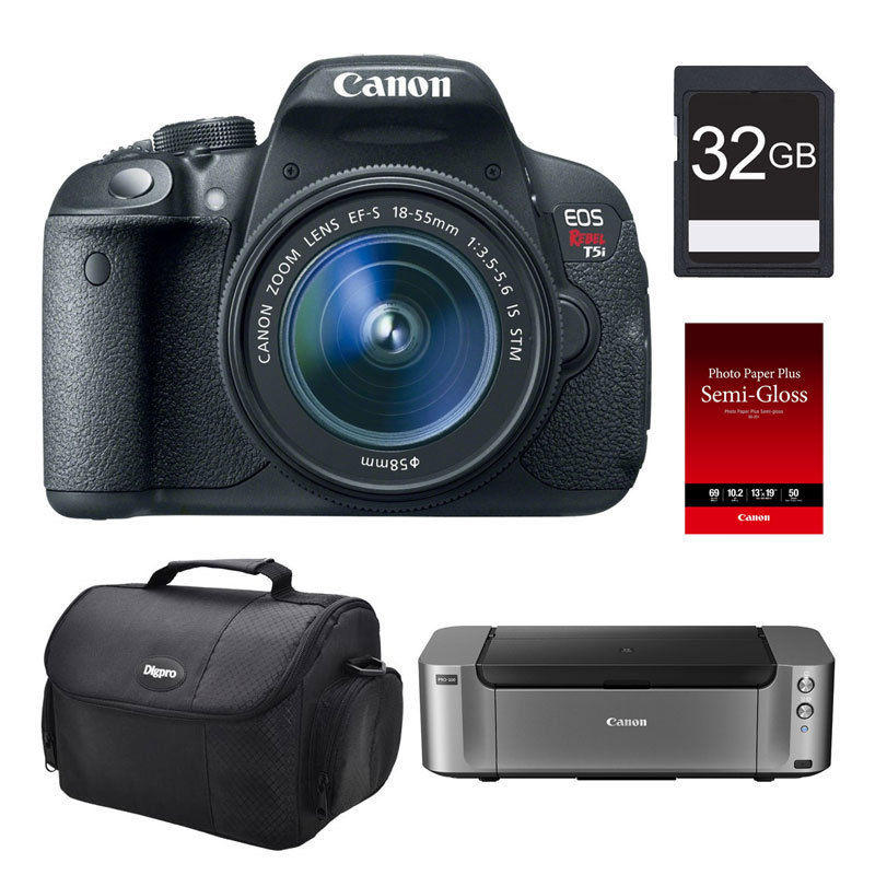 Canon T5i DSLR Camera + 18-55mm STM Lens + Pro-100 Printer & More (MIR)