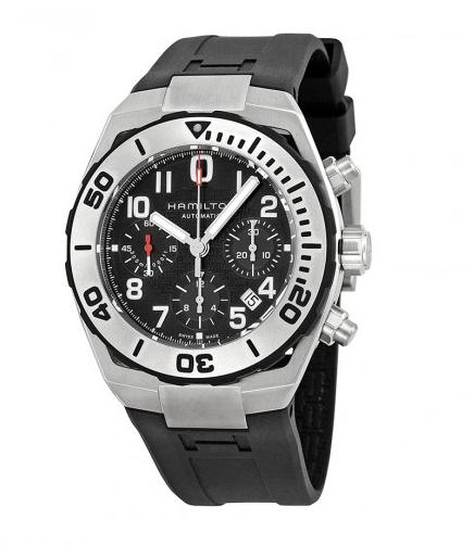 Hamilton Khaki Navy Chronograph Black Dial Black Rubber Men's Watch