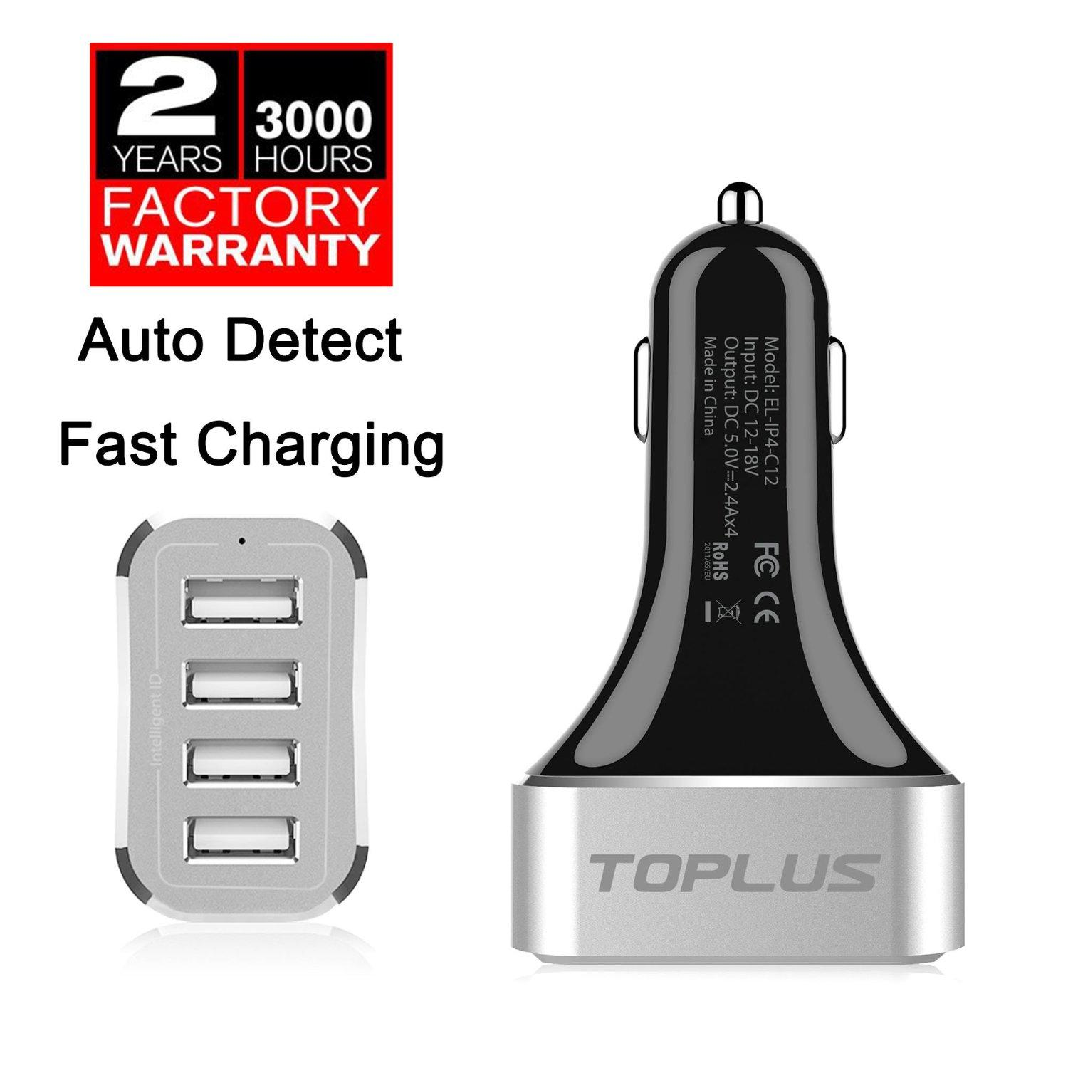 Toplus 9.6A/48W 4-Port USB Car Charger with Intelligent Identification Technology