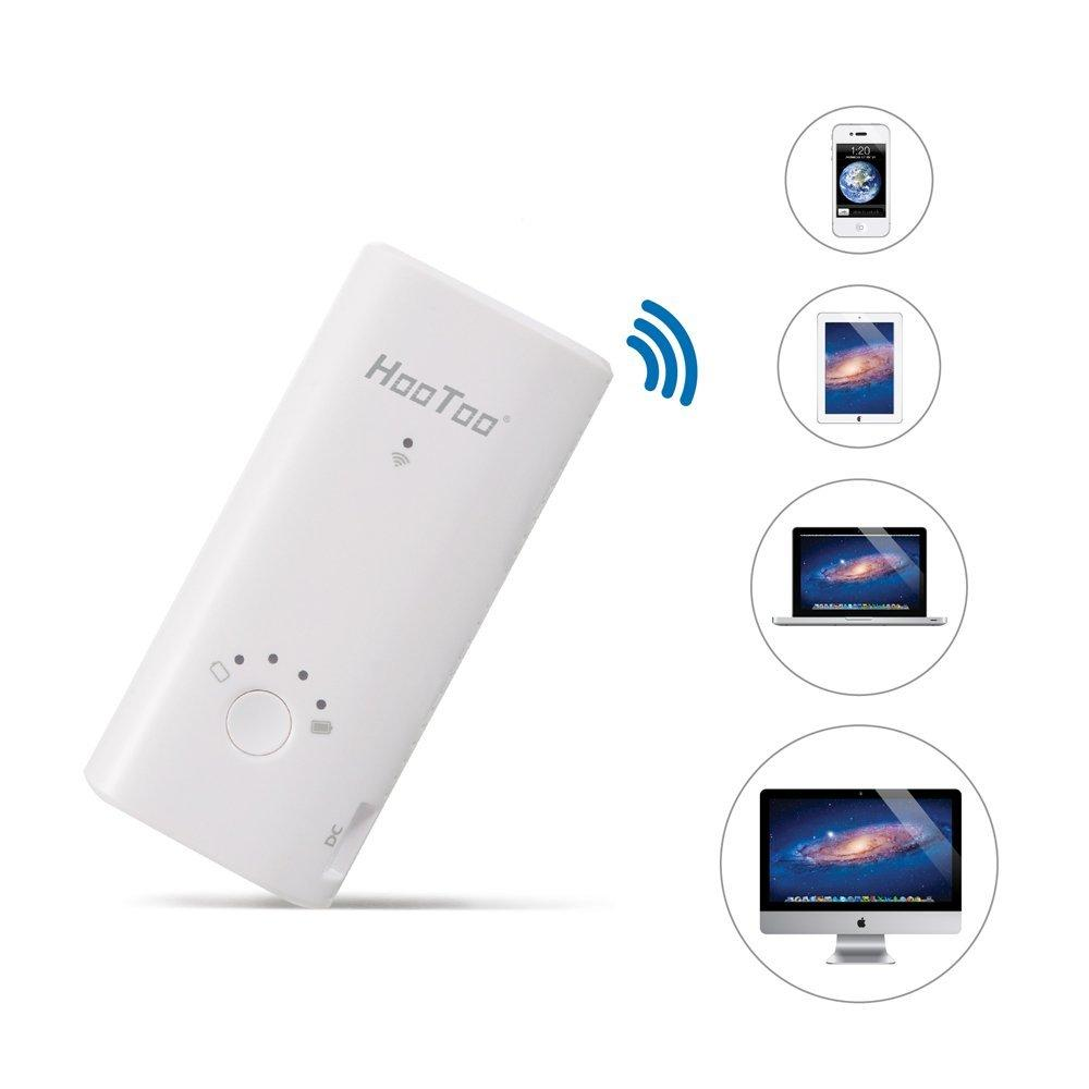 HooToo Wireless Hard Drive Companion, Wireless Router, Access Point, 6000mAh External Battery Pack Travel Charger