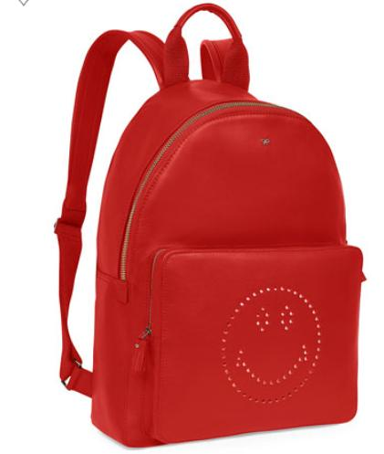 $1450+$300GC Anya Hindmarch Smiley Leather Backpack, Red @Neiman Marcus
