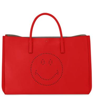 $1550+$300GC Anya Hindmarch Ebury Maxi Smiley Tote Bag, Bright Red@Neiman Marcus