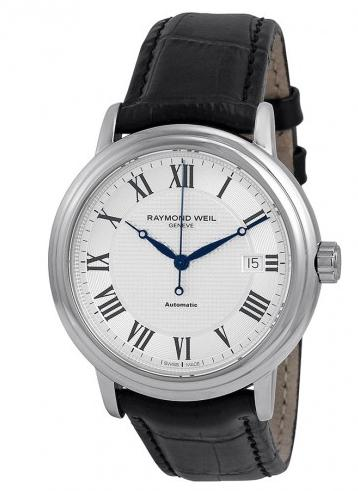 Raymond Weil Maestro Silver Dial Black Leather Men's Watch