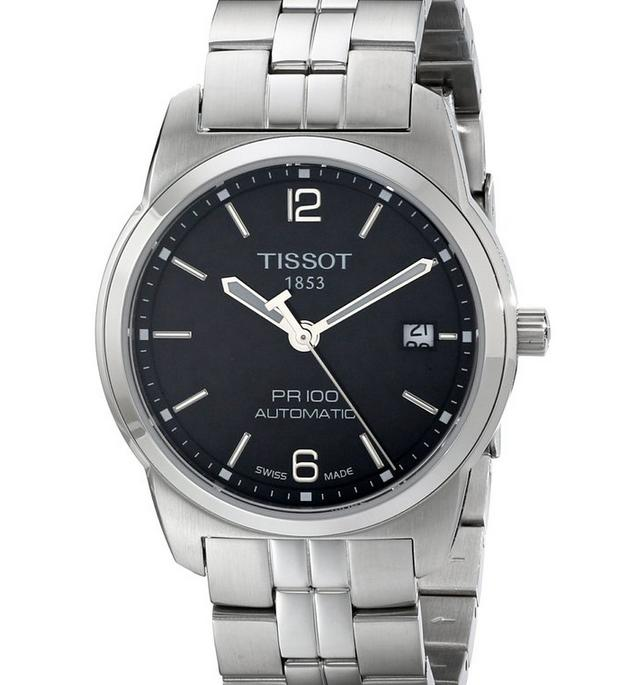 Lowest price! Tissot Men's  PR 100 Black Automatic Dial Watch