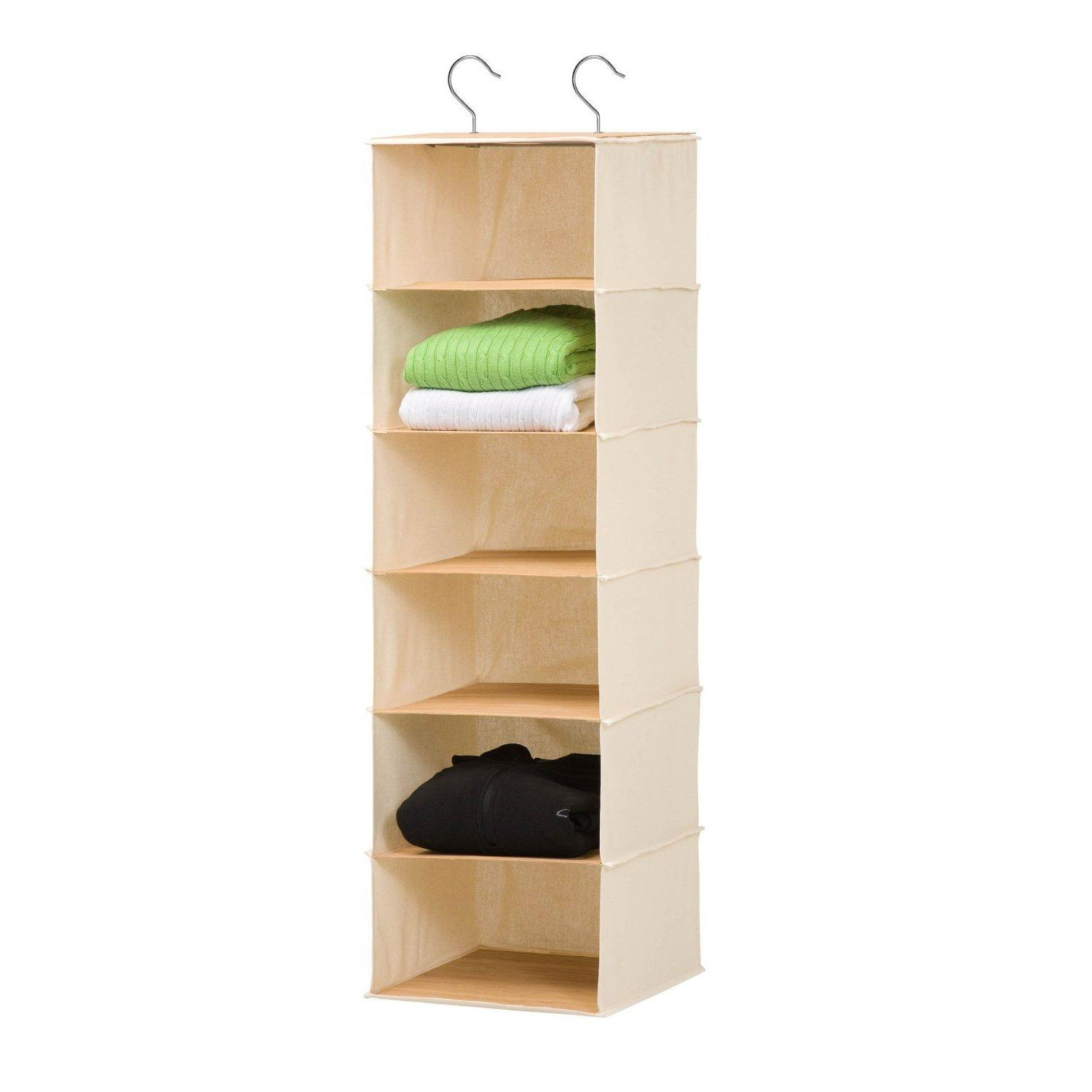 Honey-Can-Do 6-Shelf Hanging Closet Organizer, Bamboo/Canvas SFT-01003