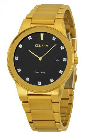 Citizen Axiom Black Dial Gold-tone Diamond Men's Watch AU1062-56G (Dealmoon Exclusive)