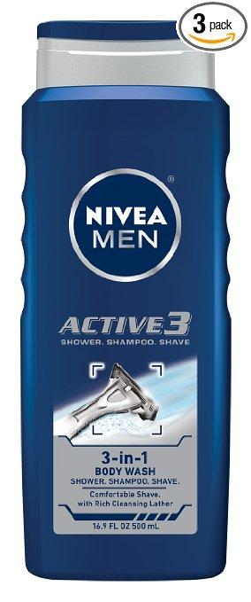 NIVEA MEN Body Wash, 16.9 oz Bottle (Pack of 3)