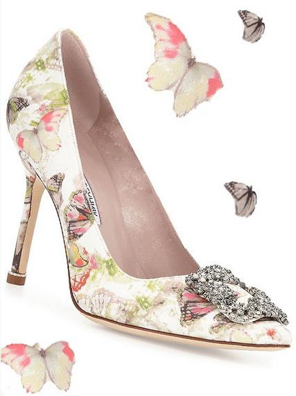 From $955+200 Gift Card Manolo Blahnik Hangisi Butterfly-Print Satin Pump & Flats, Multi @ Neiman Marcus