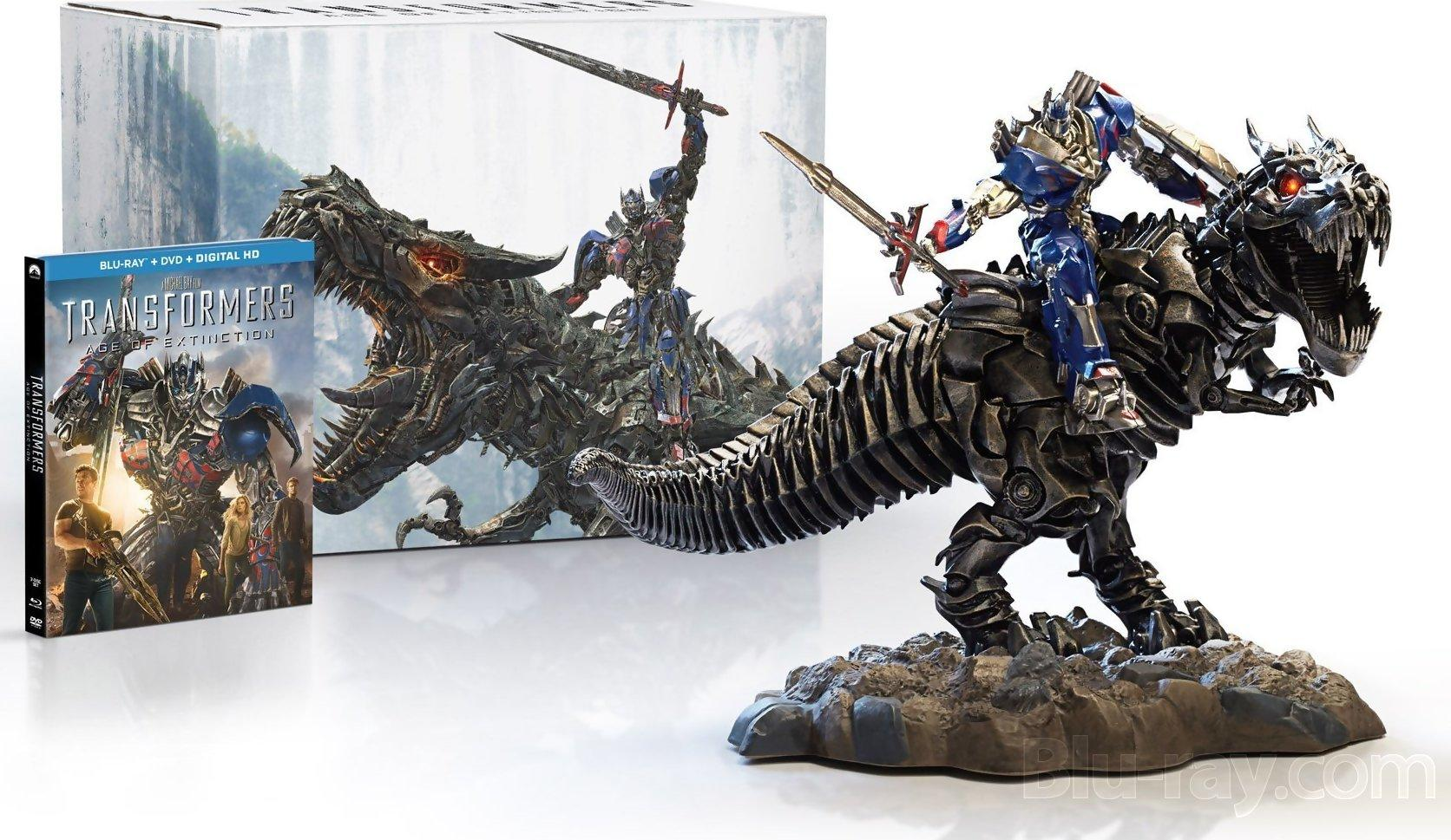 $29.99 Transformers: Age of Extinction Limited Edition Gift Set with Grimlock and Optimus Collectible Statue [Blu-ray]