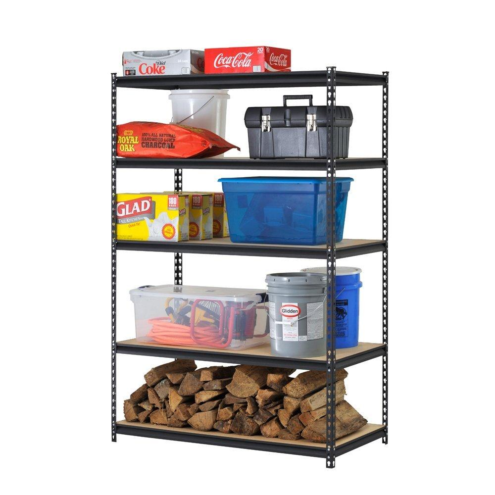 Edsal URWM184872BK Black Steel Storage Rack, 5 Adjustable Shelves