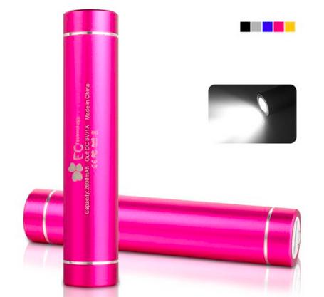 EC Technology Mini 2,600 mAh Lipstick-Sized Portable Power Bank with Flashlight