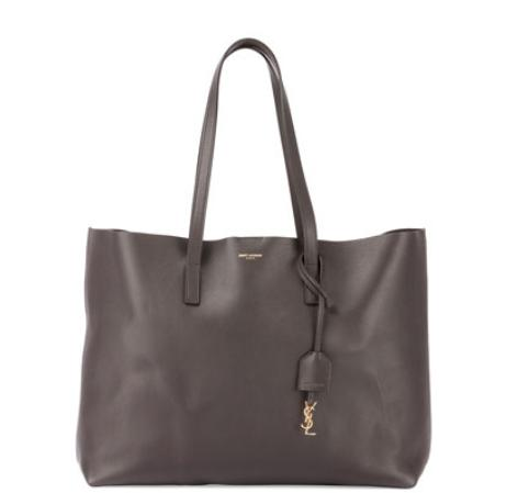 $950+$200GC Saint Laurent Large East-West Leather Shopper Bag, Dark Gray @ Neiman Marcus