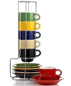 $17.73 Sensations 13 Piece Tea set with Metal Rack in Espresso by Gibson Overseas