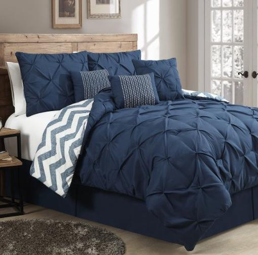 $66.33 Geneva Home Fashion 7-Piece Ella Pinch Pleat Comforter Set, Queen, Navy