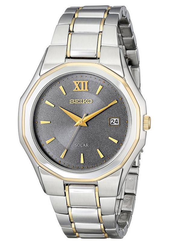 Seiko Men's SNE166 Classic Solar-Powered Two-Tone Stainless Steel Watch with Link Bracelet